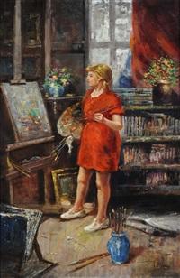 La pittrice nello studio