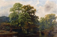 river landscape with an angler in the foreground by john wright oakes