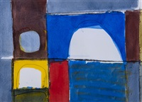 blue, red, & yellow abstract by james hull