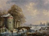 patineurs sur une rivière gelée by albert eduard moerman
