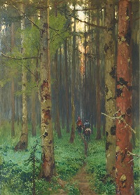 nightfall in the forest by carl julius e. ludwig