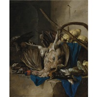 still life of game, hunting implements and quinces by cornelis van lelienbergh