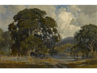 oaks under cloudy skies with a lake in the distance by percy gray