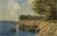 paysage au phare by hrand alyanak