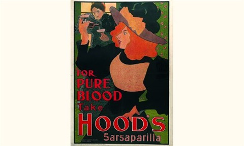 for pure blood take hoods sarsaparilla poster by william bradley