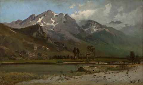 mountain with snowrift by william keith