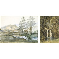 foss-waterfull (+ hassel verk-fra hasselbrek, various sizes; 2 works) by thomas fearnley