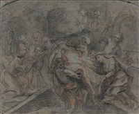 la réunion de la tête et du corps de saint julien pour l'enterrer by antoine coypel