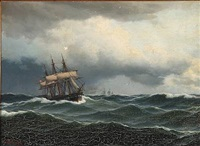seascape with a sailing ship in high waves by carl emil baagöe