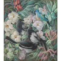 birds amongst foliage by sheila armstrong