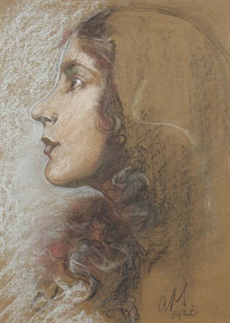 Austin Auction Gallery >> Portrait of Ada Millicent Pain by Austin Osman Spare on artnet