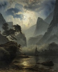 a norwegian fjord by moonlight by knud andreassen baade