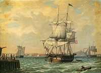 shipping in a harbor (new york?) by fitz henry lane