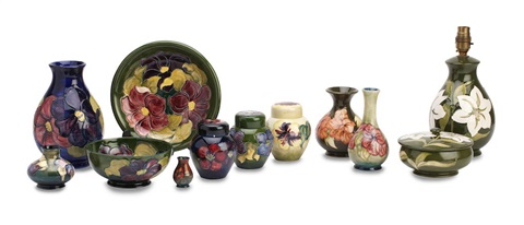 A collection pottery in Lily, Hibiscus and Anemone pattern