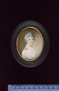a lady, wearing white dress, the collar trimmed with blue, white fichu, her hair curled and powdered by edward nash