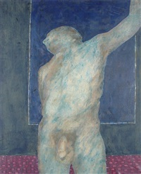 leaning nude man by james francis gill