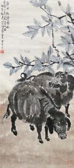 桑梓野猪图 by xu beihong