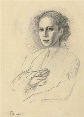 etude pour portrait de la princess radziwill by balthus