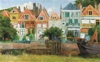 maisons le long du canal, hollande by albert baertsoen