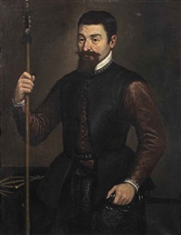 portrait of a military engineer, three-quarter-length, in a purple silk coat and black doublet, holding a staff and a sword, measuring instruments... by leandro da ponte bassano