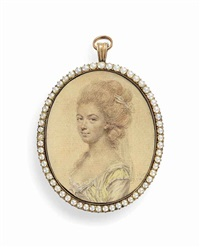 a preparatory sketch of a young lady, in yellow dress decorated with pearls, upswept curling powdered hair with white bandeau by john smart the elder