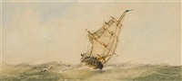 sail and steam (+ a schooner under full sail; pair) by richmond markes