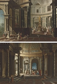 a capriccio of the interior of a temple with a scene of sacrifice to jupiter (+ a capriccio of the interior of a temple with a scene of sacrifice; pair) by pietro francesco garoli