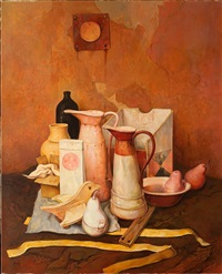 still life with circle by samuel bak
