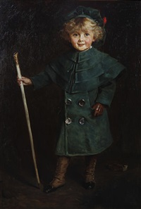 portrait of a young boy in green coat, tam o'shanter and spats, holding a cane and a glove at his feet by charles a. buchel