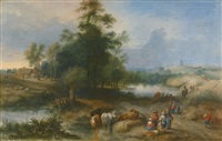landscape with drovers watering cattle by theobald michau