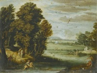 landscape with a hunt by pier paolo (g.b. carracci) bonzi
