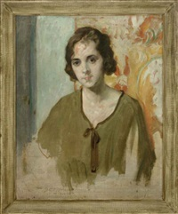 portrait of a lady wearing a green dress by david e. kornhauser