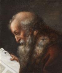 porträt eines lesenden gelehrten mit pelzverbrämten mantel by joseph dorn