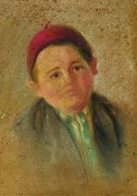 fesli çocuk portresi by celile hikmet