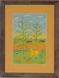 plow horse in summer field by mattie lou o'kelley