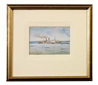 paddle steamer, port phillip by samuel thomas gill