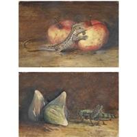 natura morta con mele e lucertolenatura morta con fichi e un grillo (pair) by teresa berenice vitelli