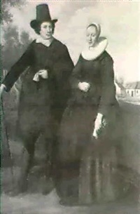 a portrait of a burgermaster and his wife in a landscape by gerard van donck