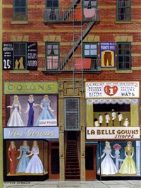 new york city storefront, vendors specializing in gowns (new yorker cover) by witold gordon