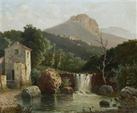 italian landscape with waterfall by raimondo scoppa