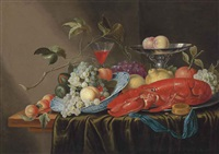 grapes, peaches, cherries and figs in a wan-li porcelain bowl, a lobster, with an orange and lemon on a pewter platter, with a façon-de-venise wine by cornelisz mahu