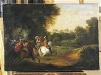 louis xiv chassant devant le château de vincennes by sauveur le conte