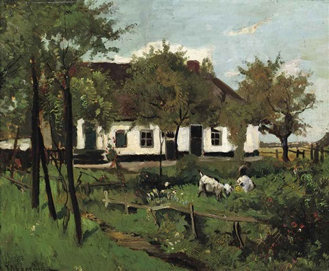 farmhouse with goats by johannes evert hendrik akkeringa
