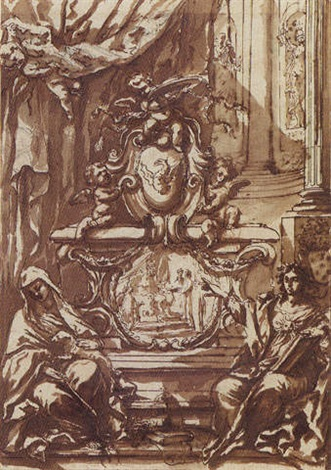 a monument to pope gregory xiii crowned by putti and flanked by allegories of faith and charity by antonio filippini