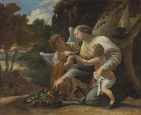 the virgin and child with an angel in a landscape by simon vouet