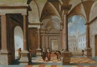 inneres eines palastes mit einem gekrönten herrscher und anderen figuren, rechts blick auf einen platz by hans jurriaensz van baden