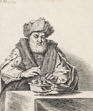 mann mit bart und pelzmütze by ferdinand bol