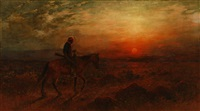 apache on horseback returning home by henry raschen