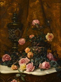 still life with roses and covered urn on a marble top table by milne ramsey