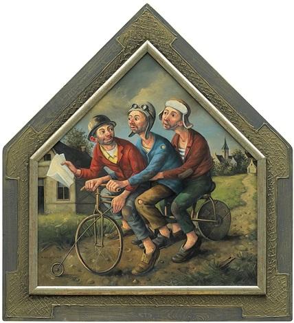 three men riding bike by dariusz milinski